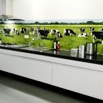 Фотообои на стену для кухни «Коровы на лугу»
