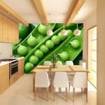Фотообои на стену для кухни «Зеленый горошек»