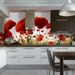Фотообои на стену для кухни «Красные маки»